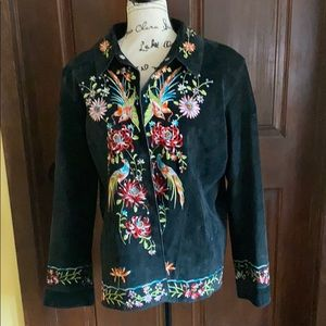 Black suede jacket with embroidery